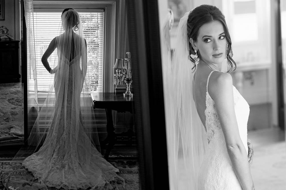 01 stunning bride getting ready and looking at herself in the mirror