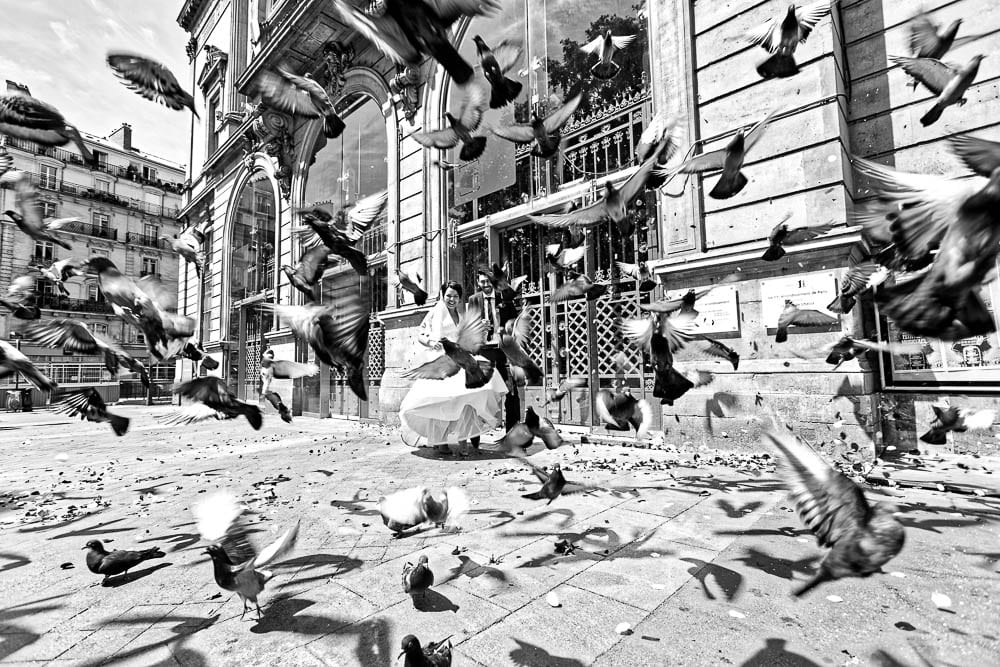 bride and groom running trough pigeons black and white photo in the city