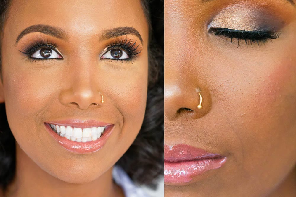close up portrait of brides make up