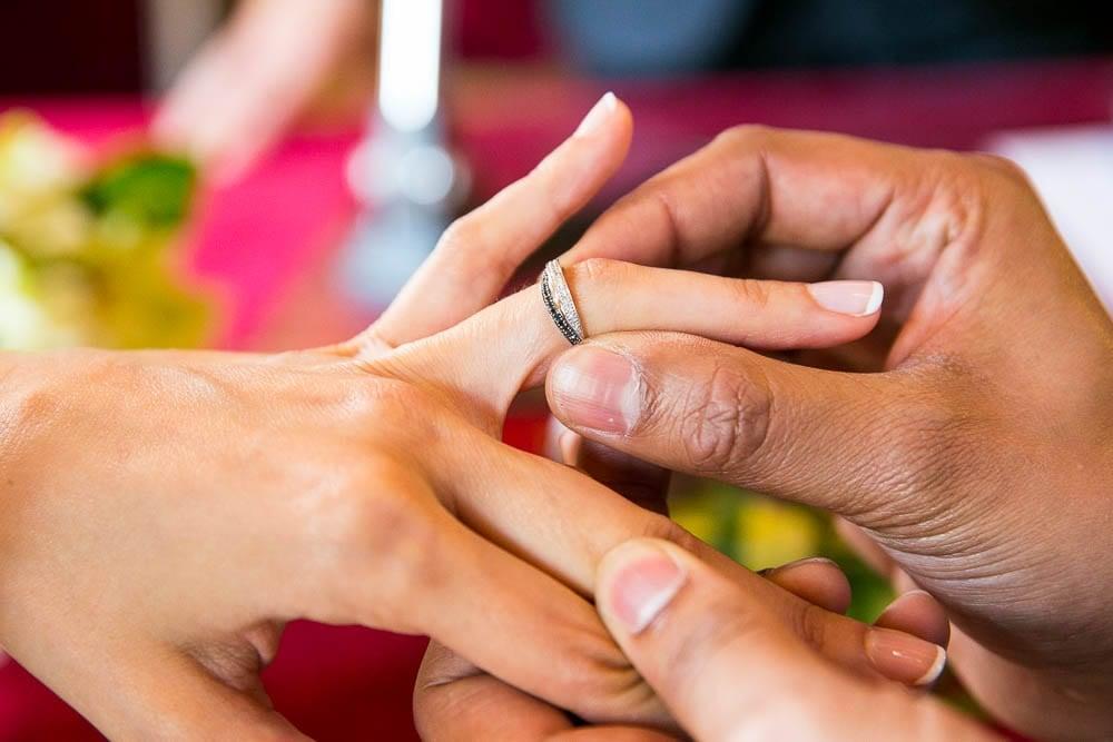 close up shot of wedding rings exchange