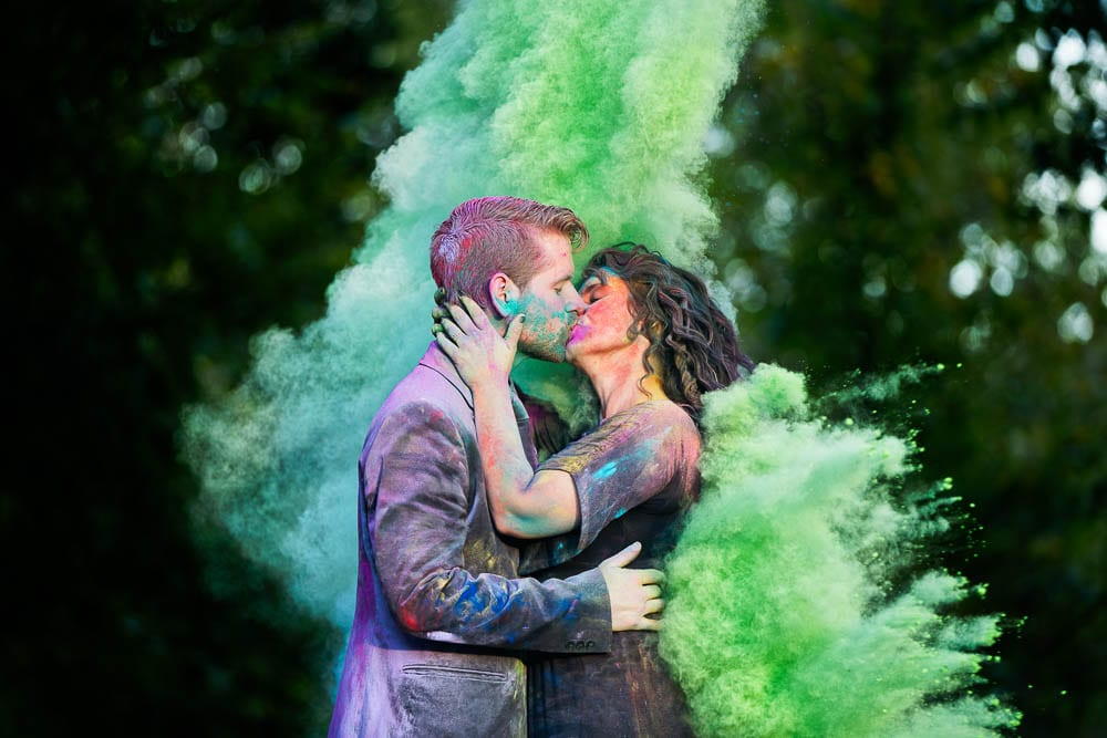 creative chalk engagement session green