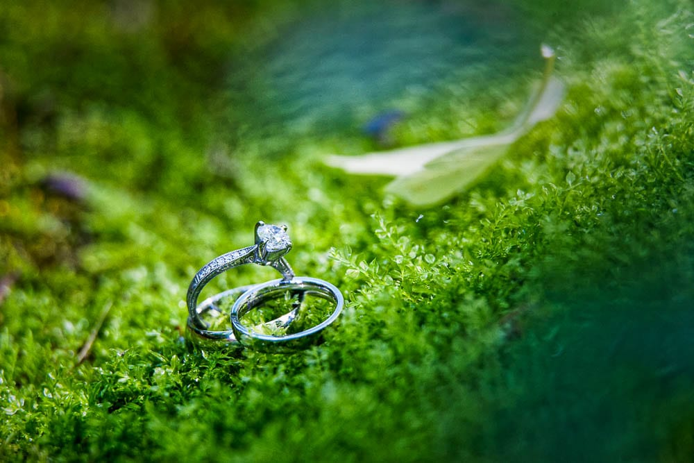details photo of wedding rings on green grass foam