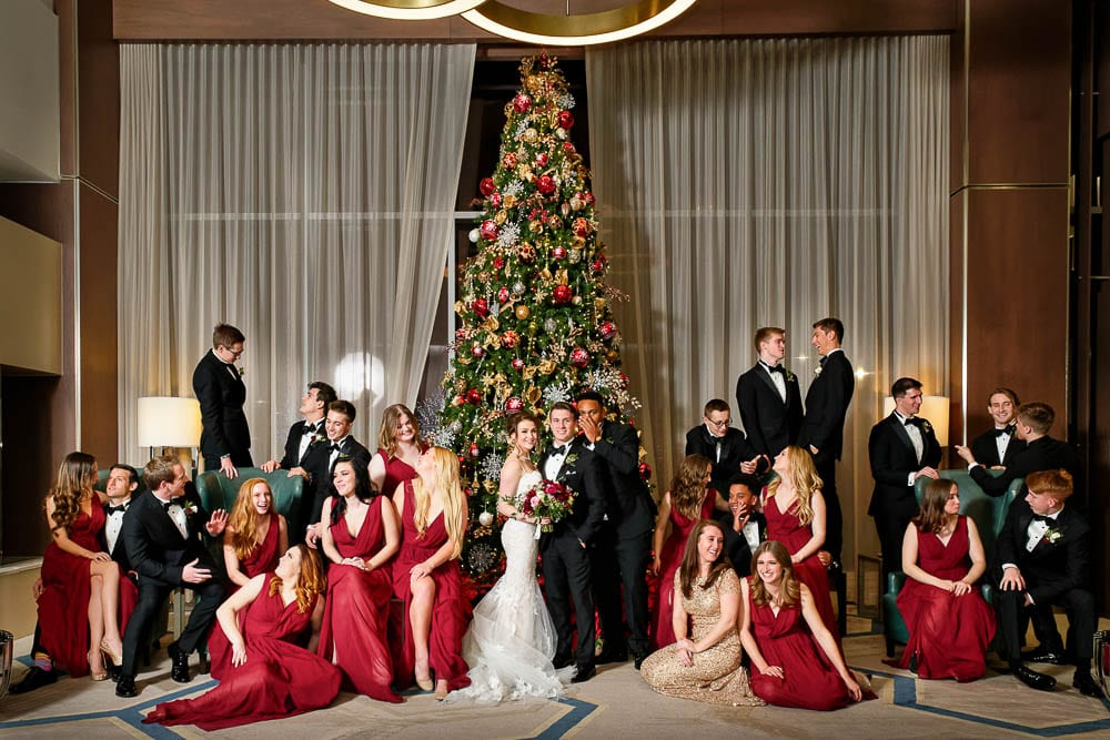 Entire bridal party photo at luxurious mall of america hotel
