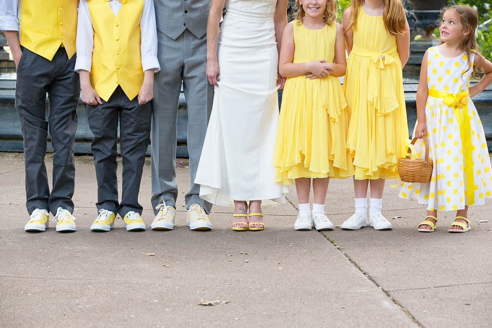 funny family group photos on yellow color wedding