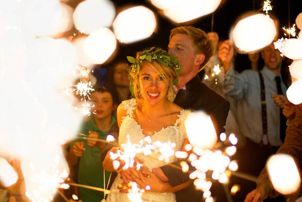 grand exit with sparklers