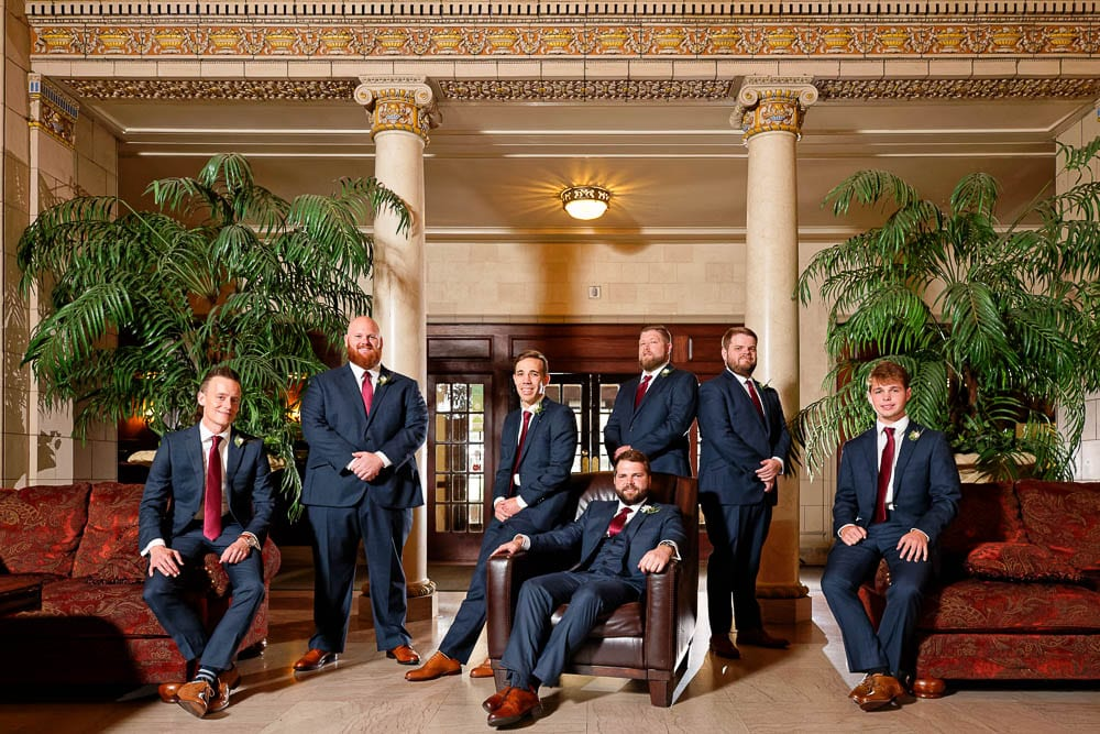 groom and groomsmen photo at historic wedding venue