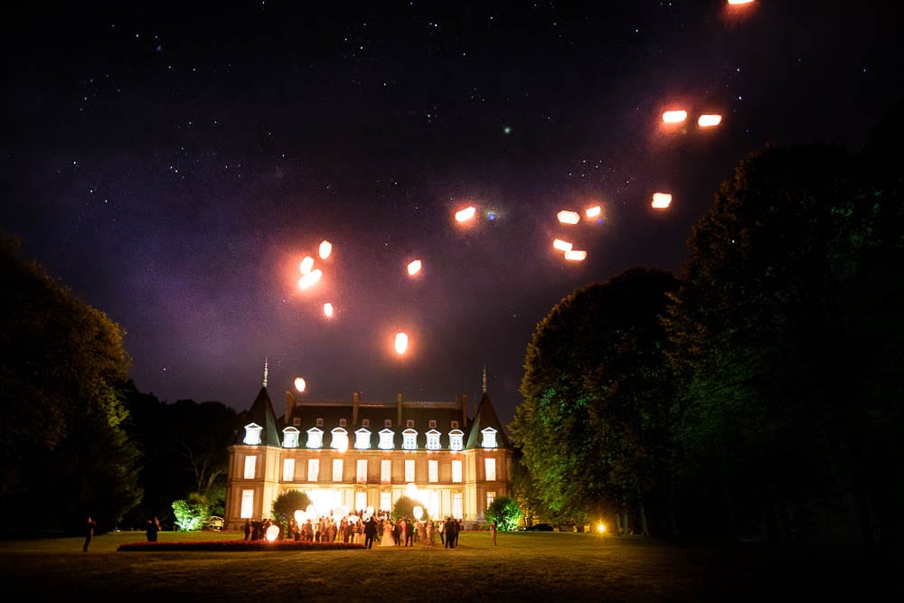 lanterne in front historic wedding castle during night