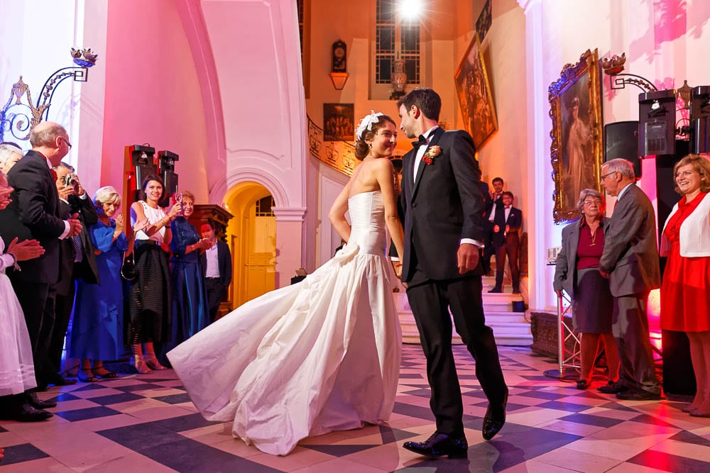majestic picture of bride and groom first dance in castle
