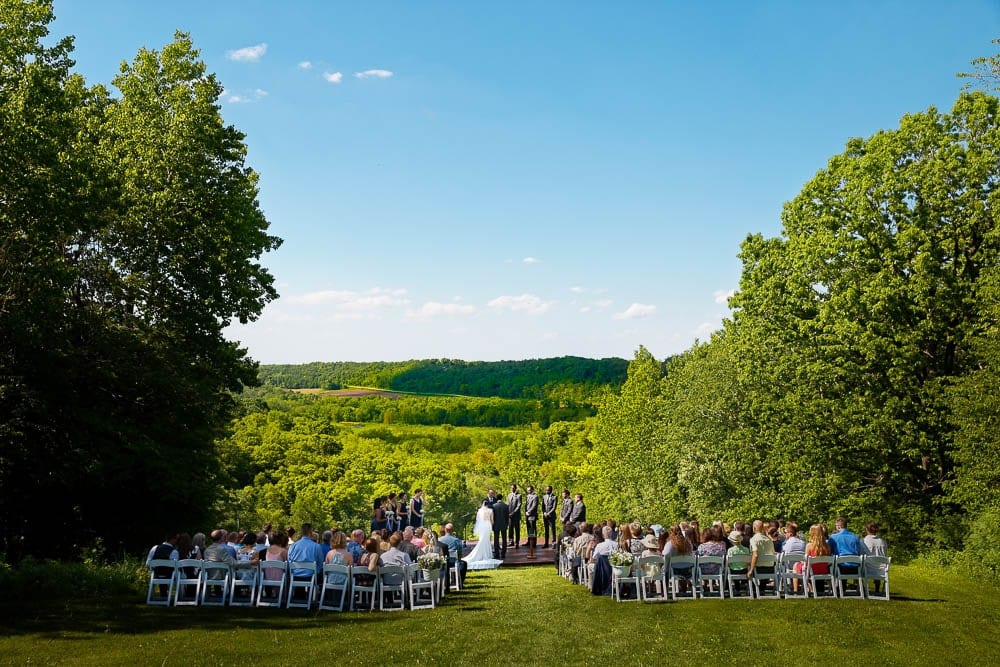 out door ceremony with panoramic view on landscape minnesota
