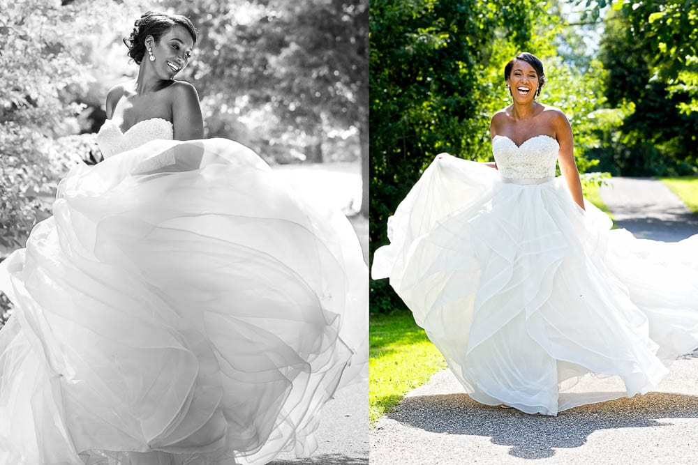 portrait of bride playing with her dress