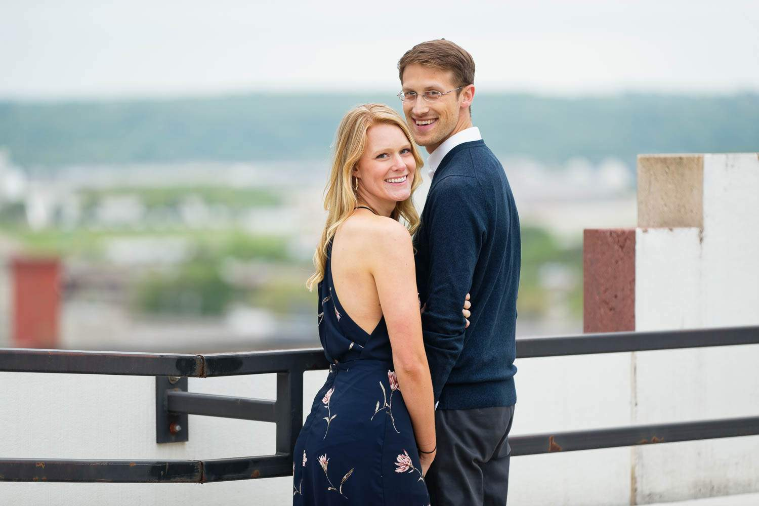 happy couple with view on the waterfront