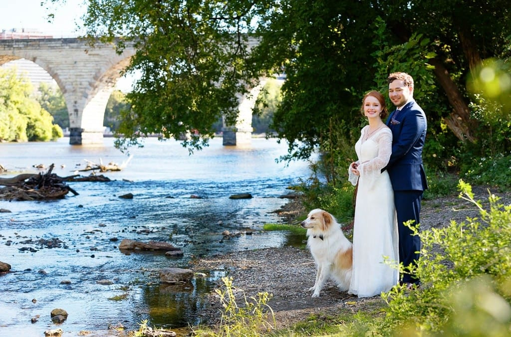 bride and groom photo session with dog on Twin Cities