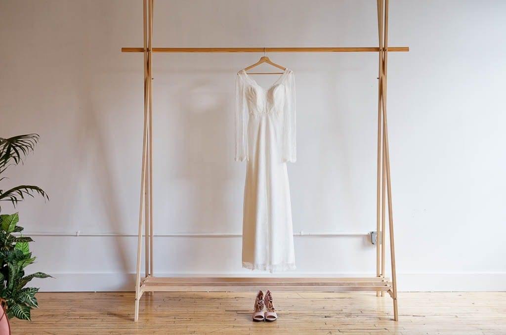 dress hanging in the makeup room at Neu Neu