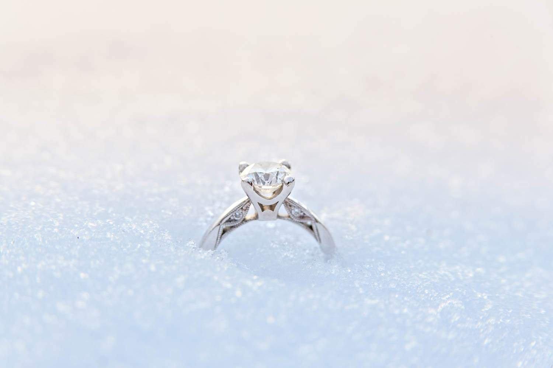 simple pur diamond ring in snow