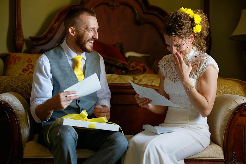 bride and groom shared their pre wedding letter