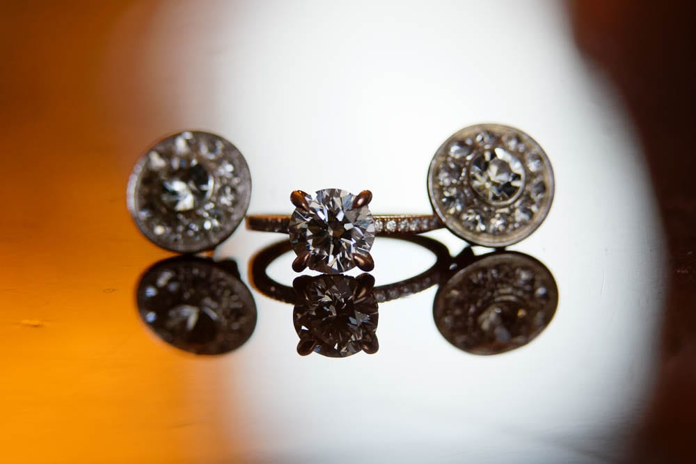detail photo of engagement ring and earings