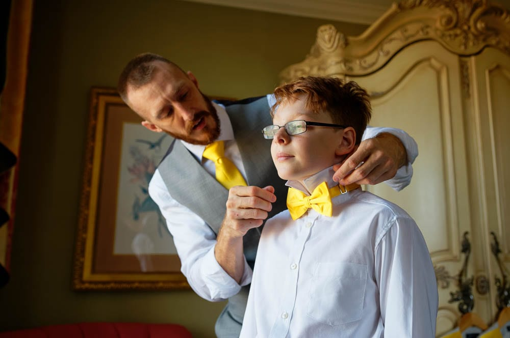 father and son getting ready moment