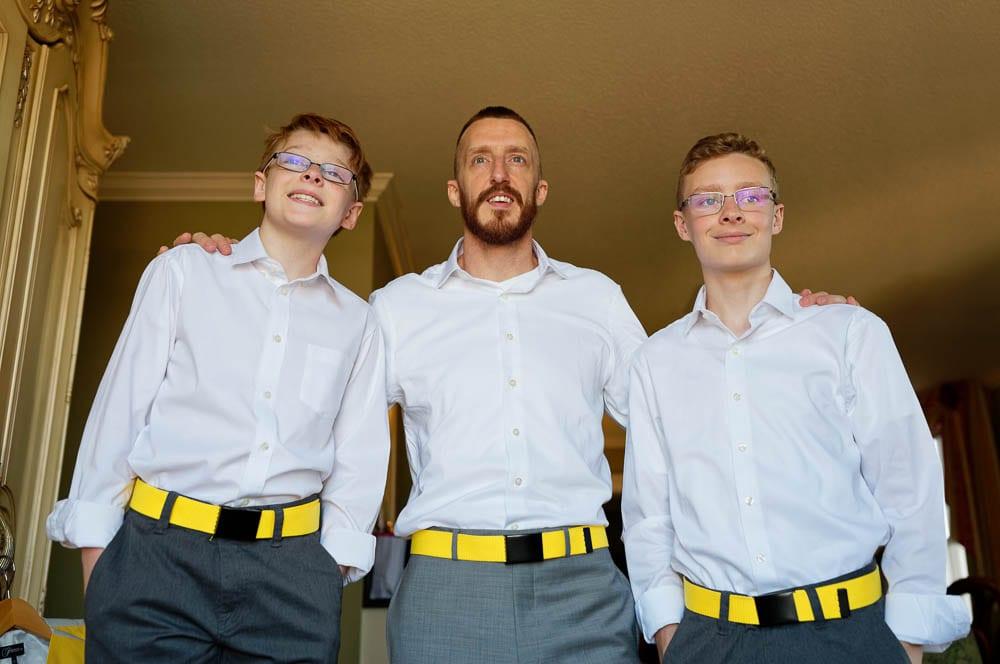 groom and groomsmen yellow beld