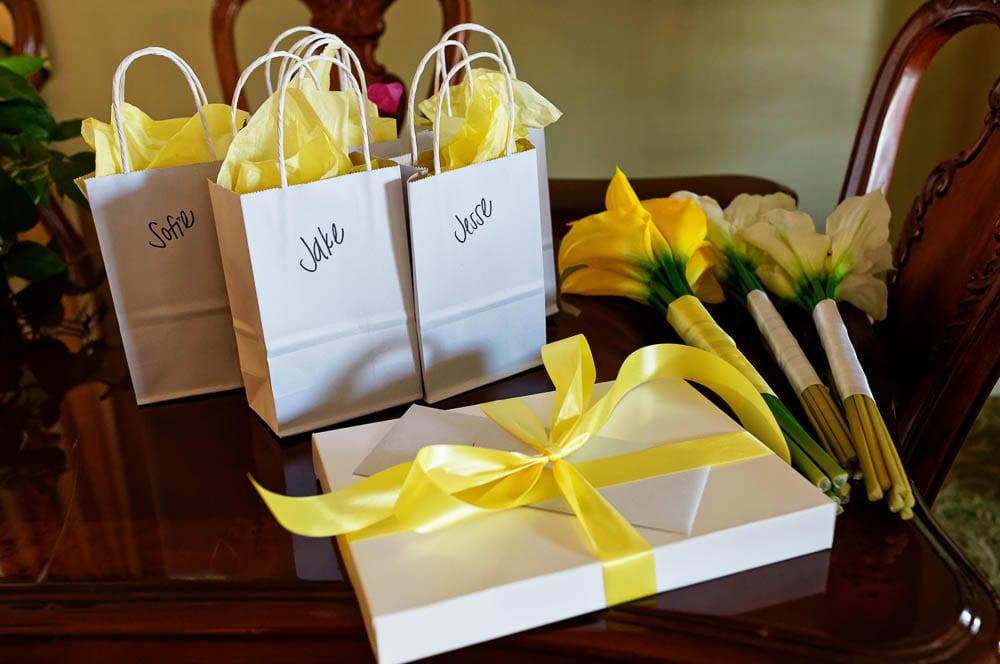 wedding gift with yellow ruban