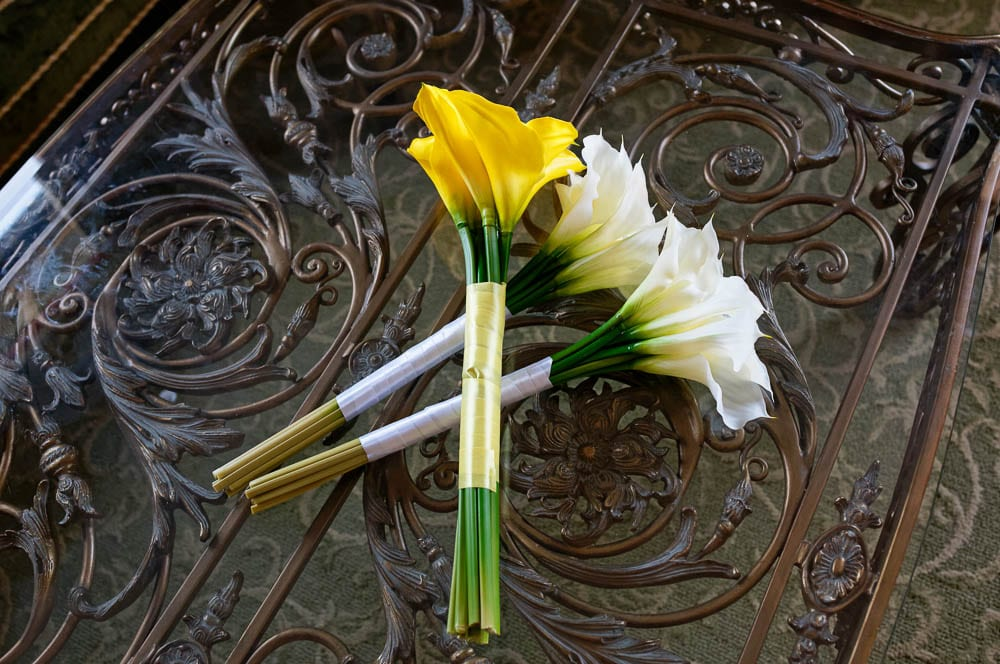 yellow and white wedding flower calla lily