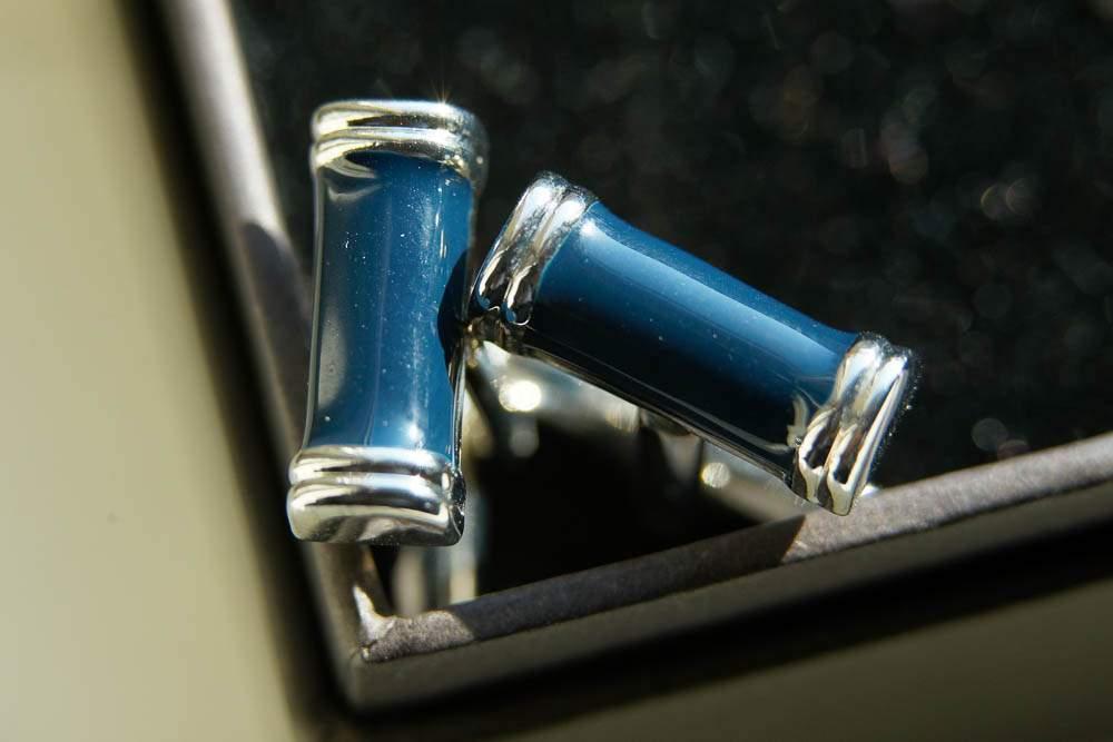 — blue cufflinks—
