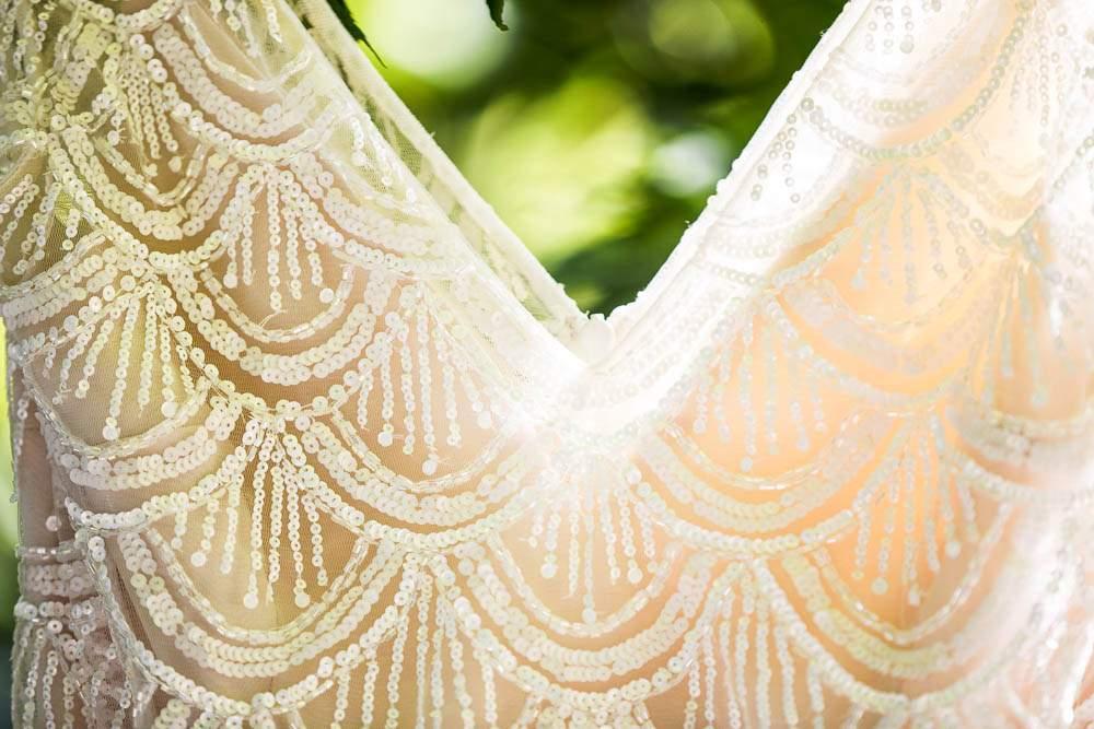 — detail of wedding dress white and cream —