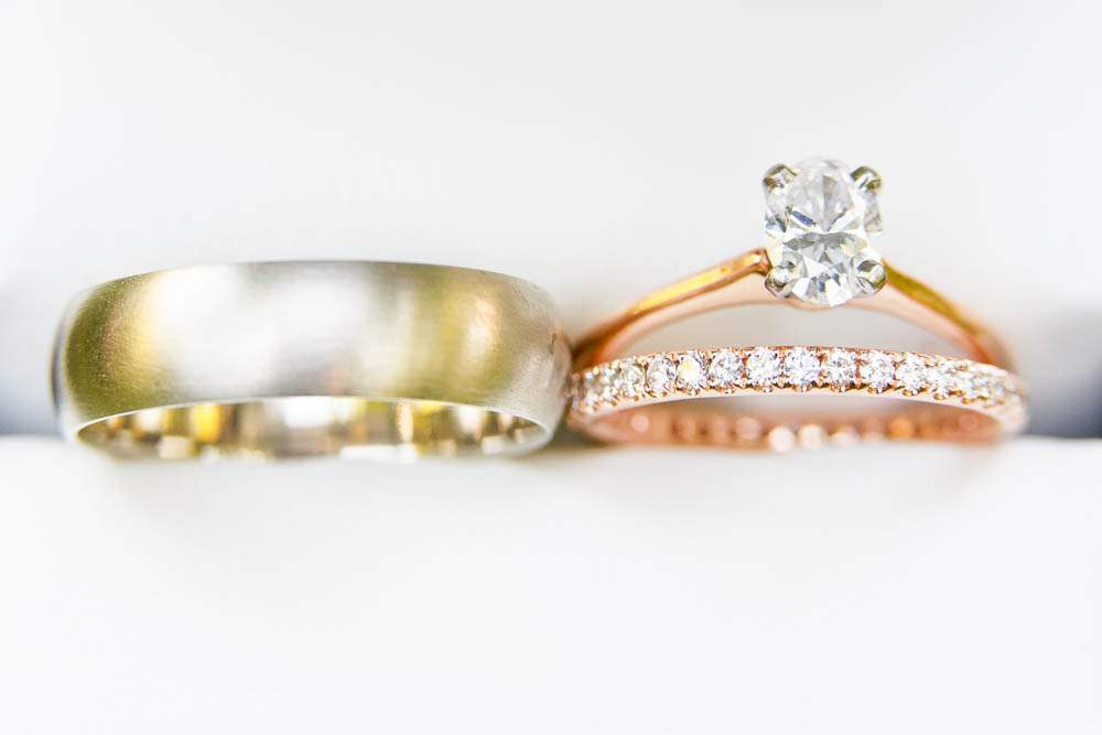 — gold band and pink gold wedding ring and diamond ring —