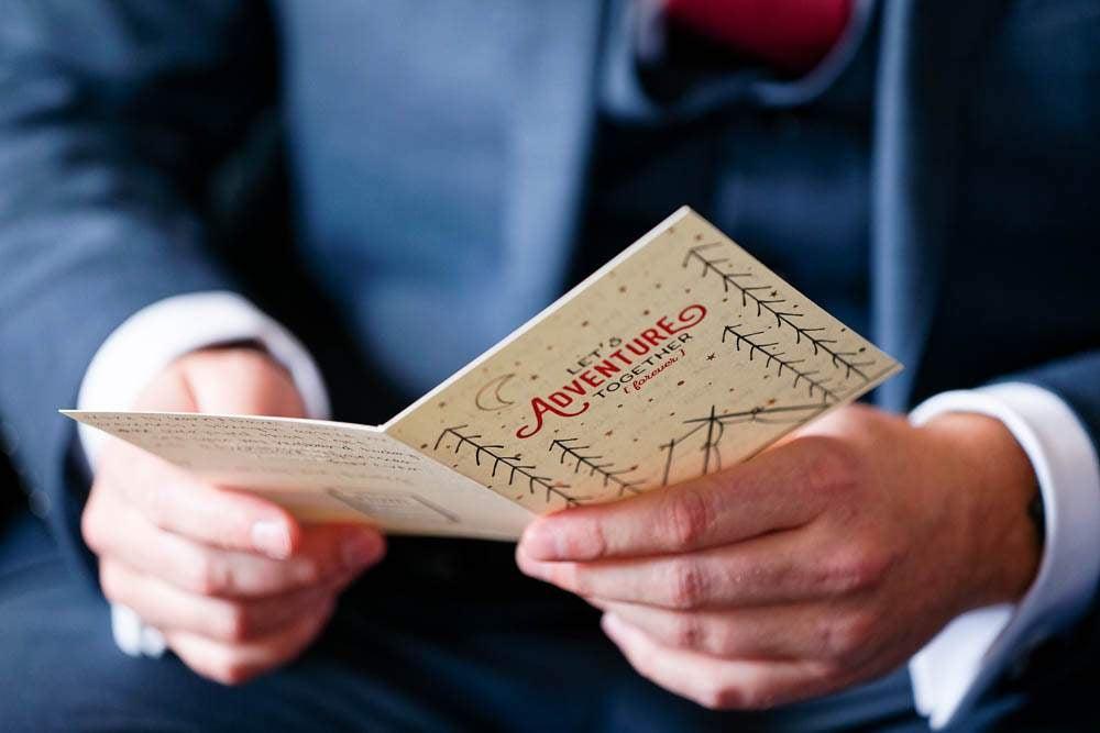 — groom reading letter —