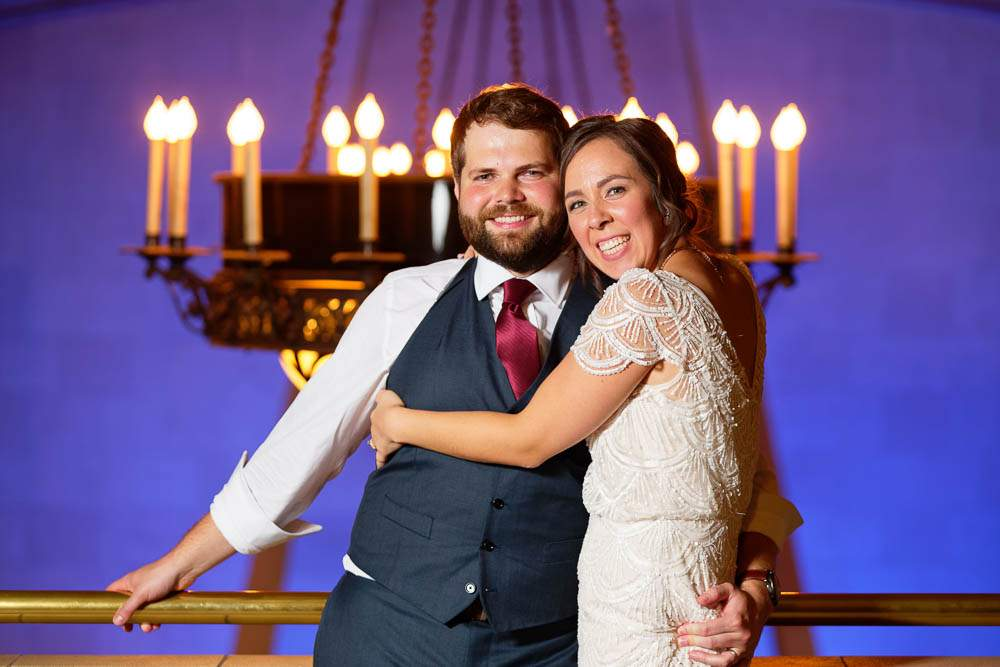 — wedding portrait with blue background and candles —