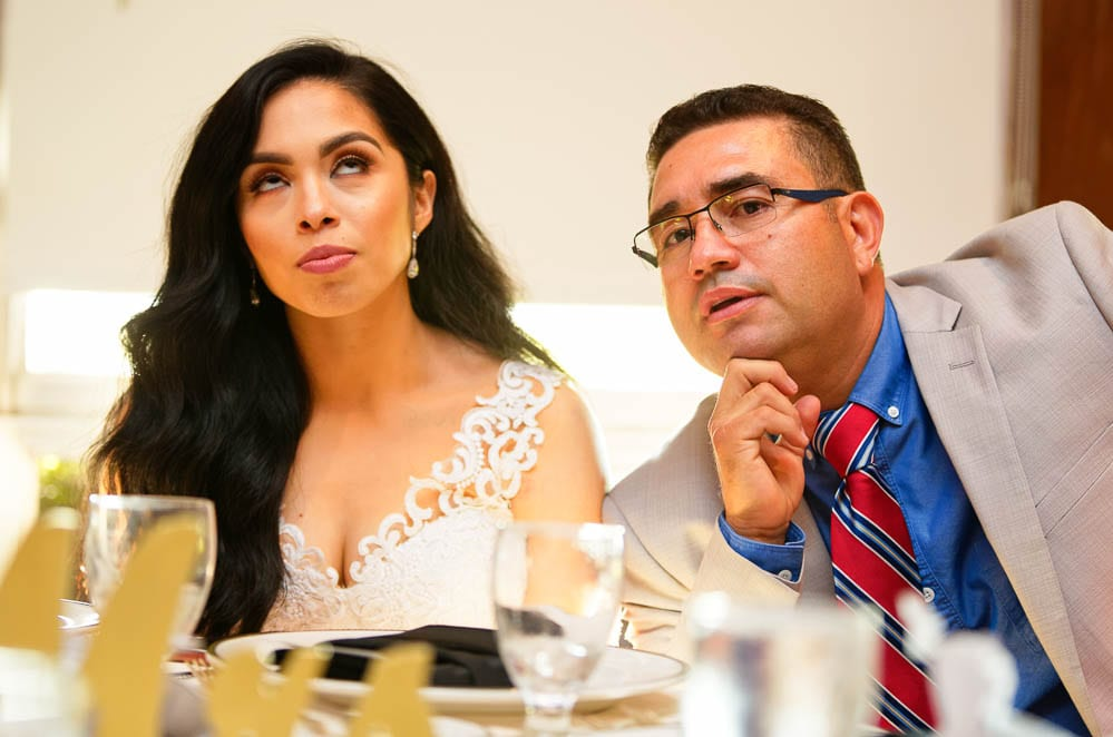 candid shot of the brides reaction