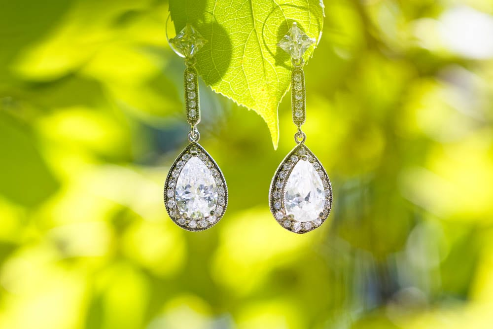 diamond earings with green leaf background