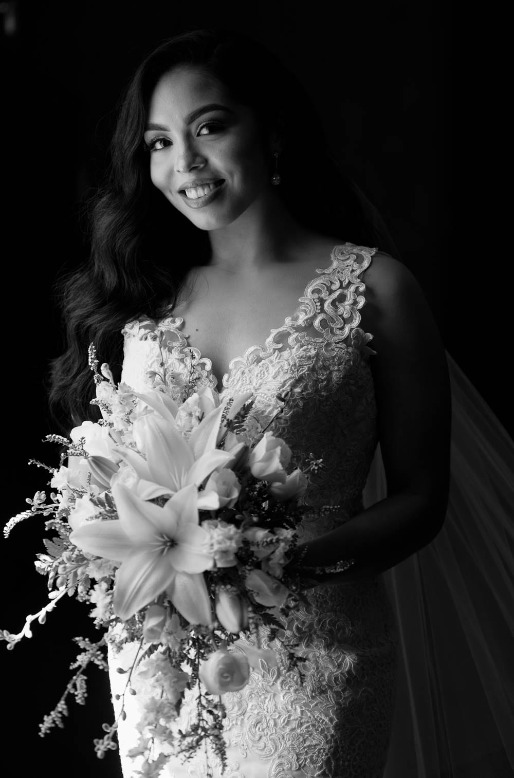 portrait of the bride to be in black and white
