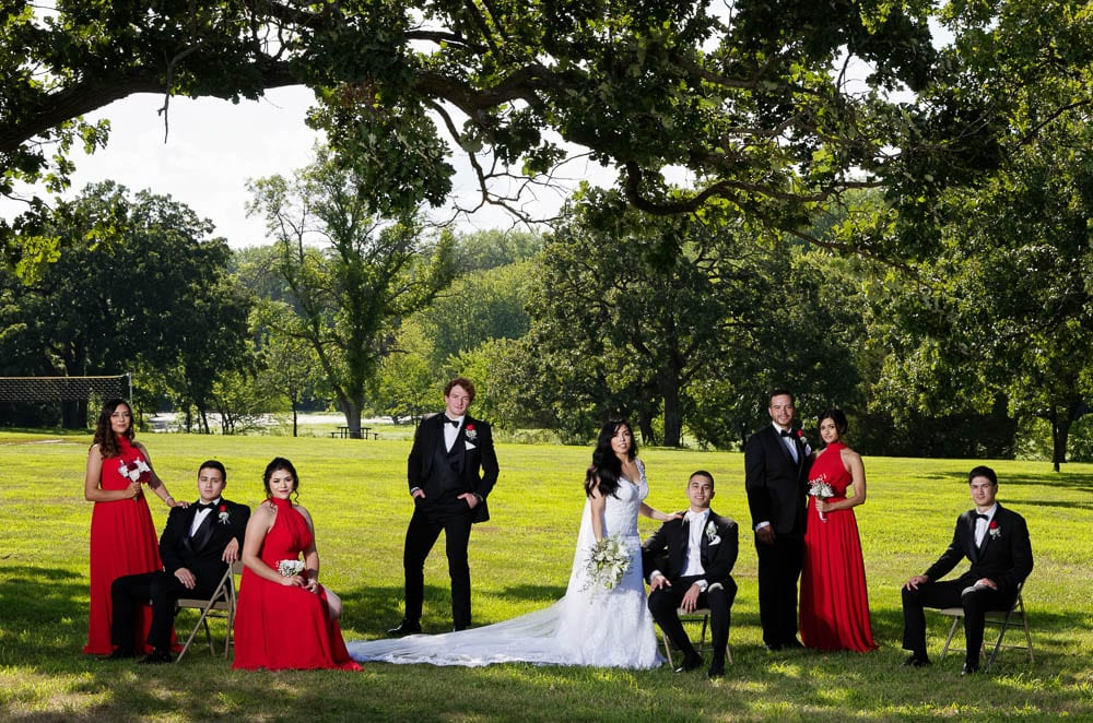 posed wedding party group