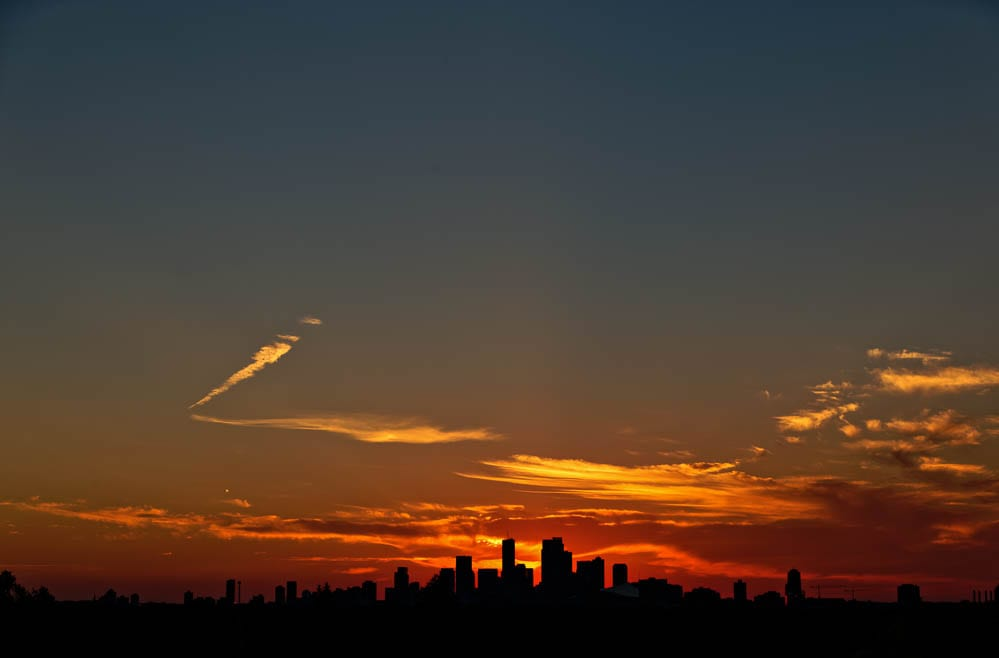 Saint Paul and Minneapolis panoramic view during sunset