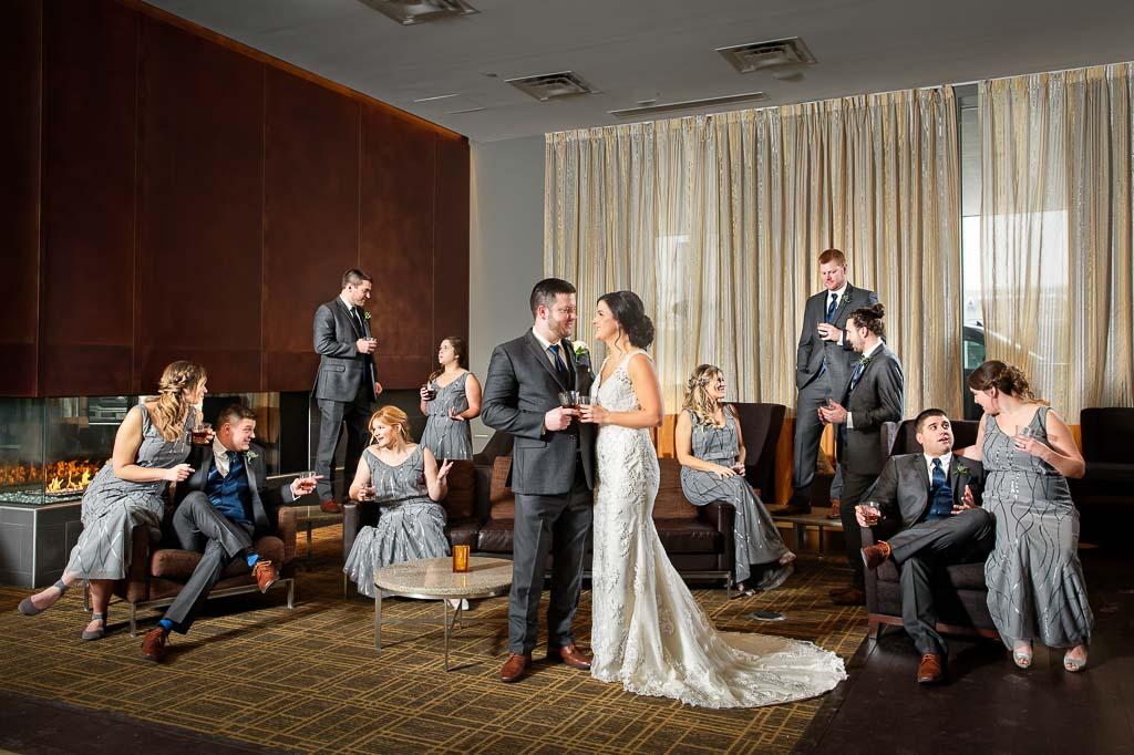 bridal party at the hotel lobby