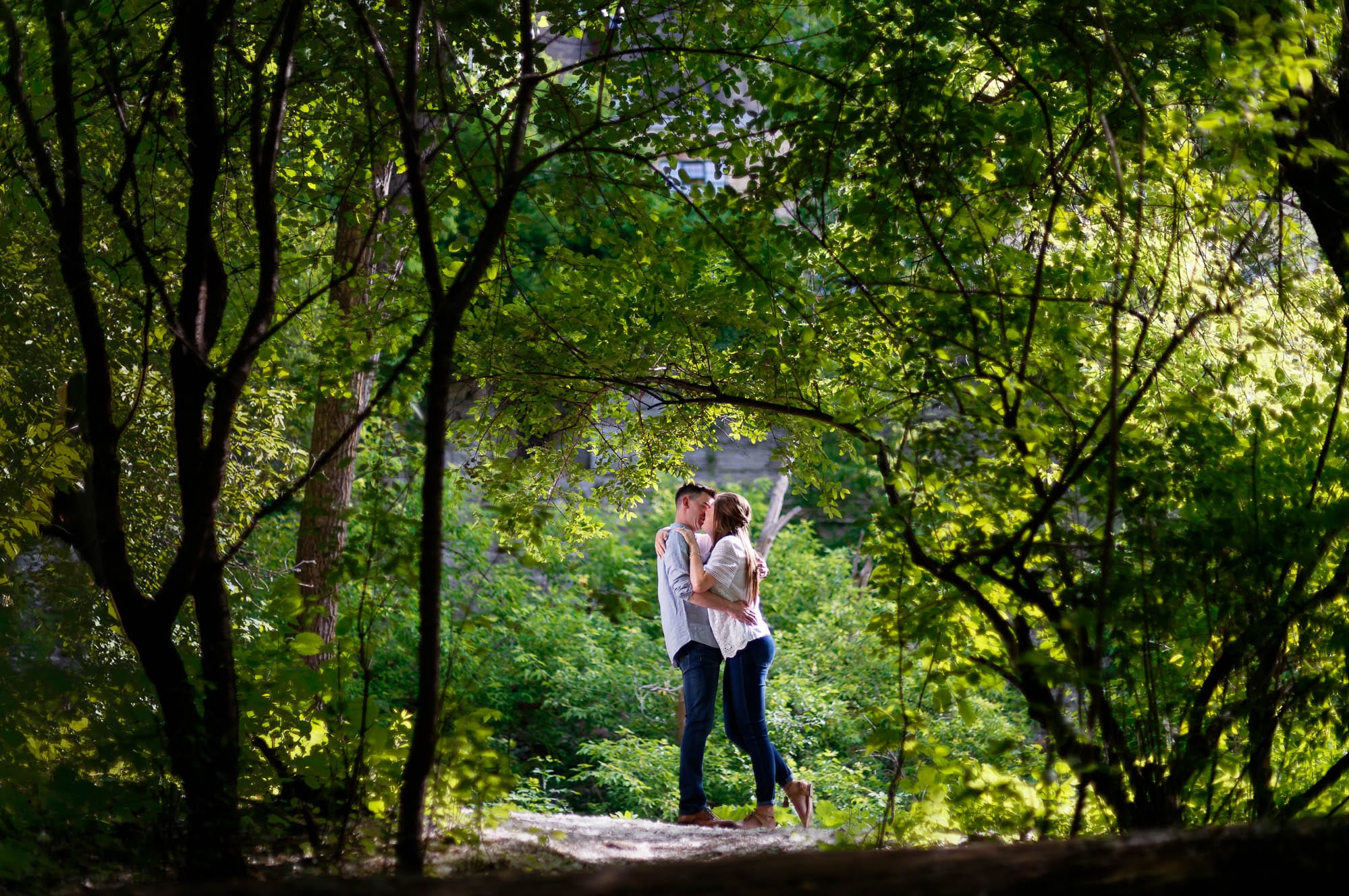-Pre-wedding-shoot-of-couple-kissing-in-nature