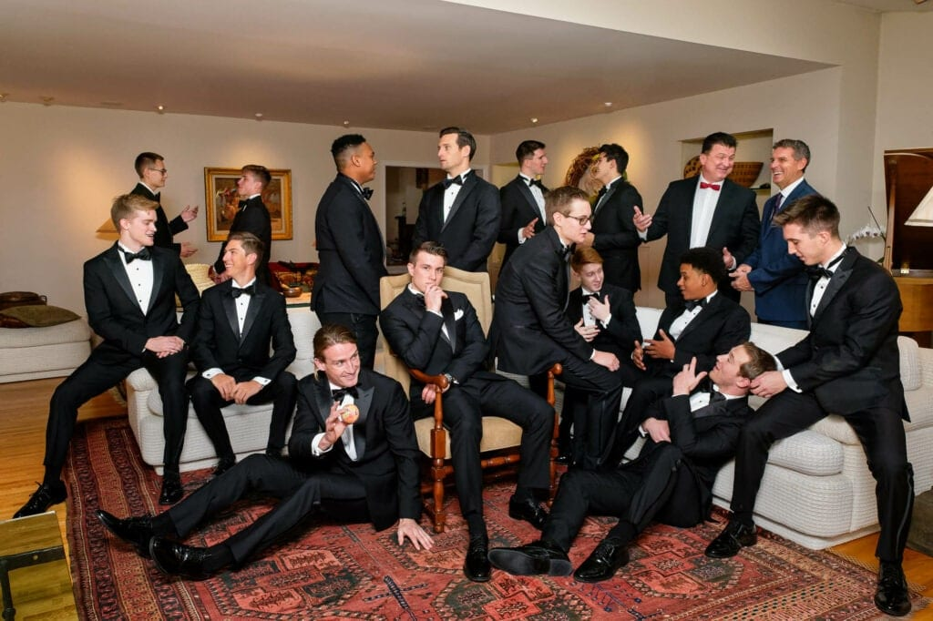 the groom and sixteen groomsmen