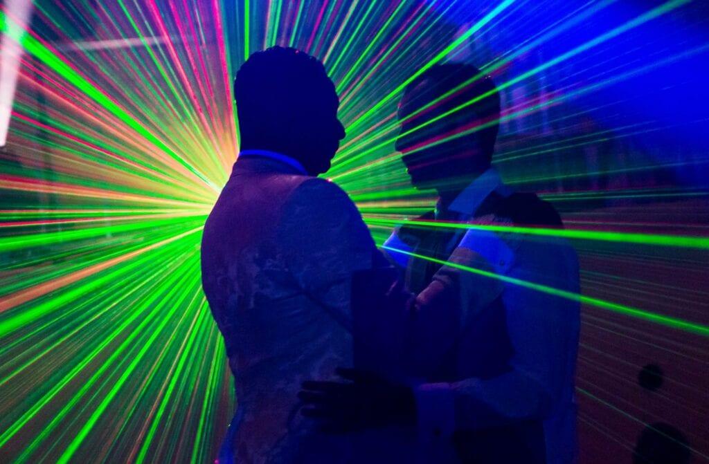 same sex wedding laser disco